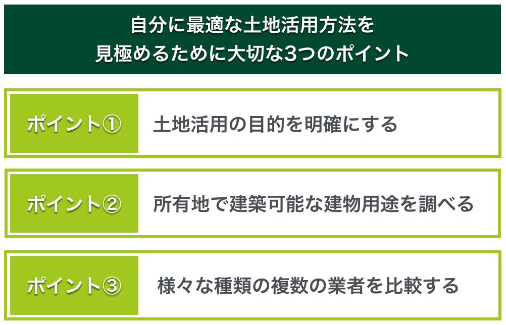 自分に最適な土地活用方法を見極めるために大切な3つのポイント