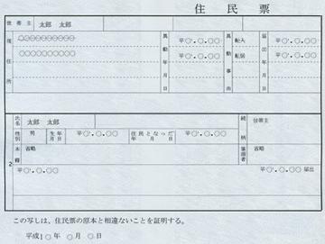 住民票のサンプル