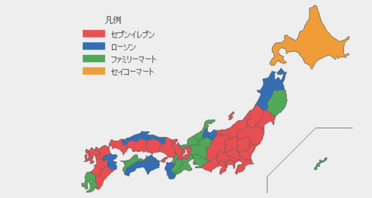 各都道府県で2015年3月現在の店舗数1位を集めたコンビニ勢力図