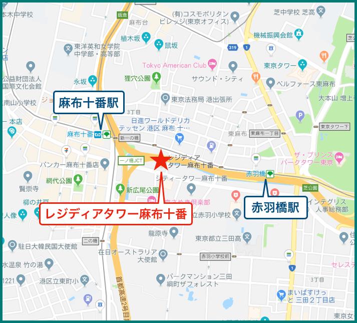 レジディアタワー麻布十番の地図
