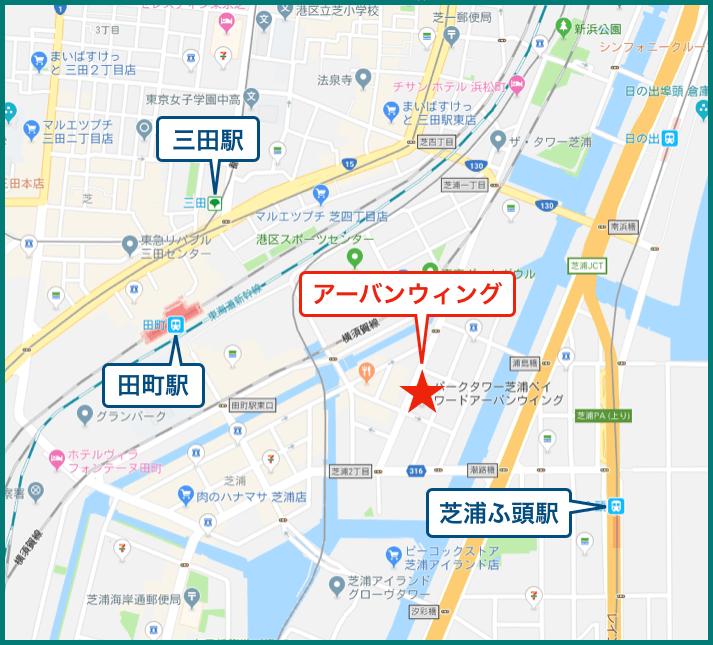 パークタワー芝浦ベイワード アーバンウィングの地図