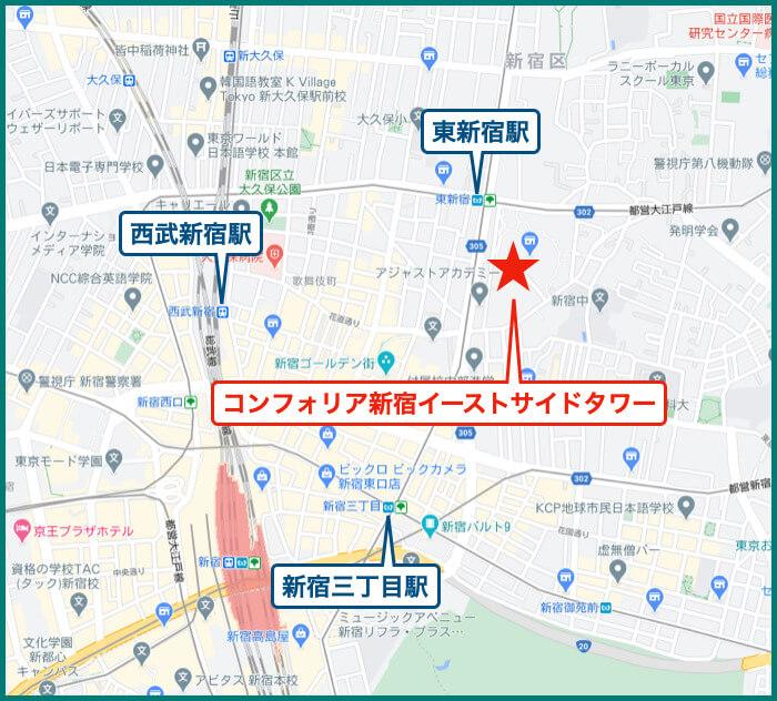 コンフォリア新宿イーストサイドタワーの地図