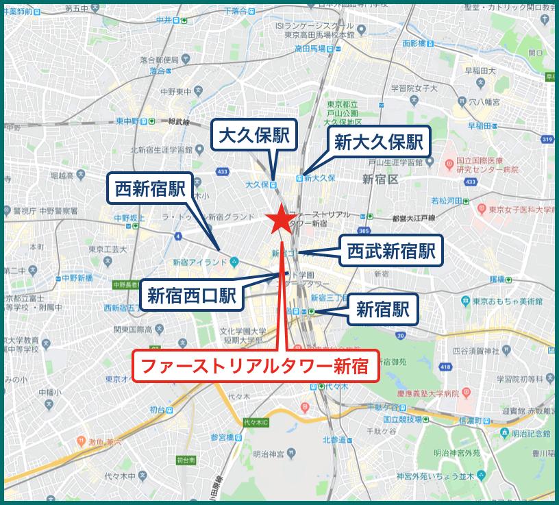 ファーストリアルタワー新宿の地図