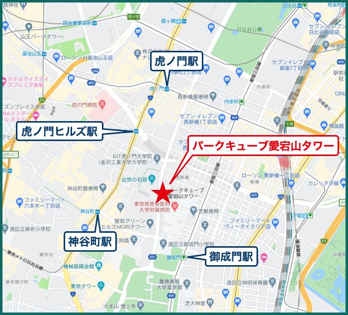 パークキューブ愛宕山タワーの地図