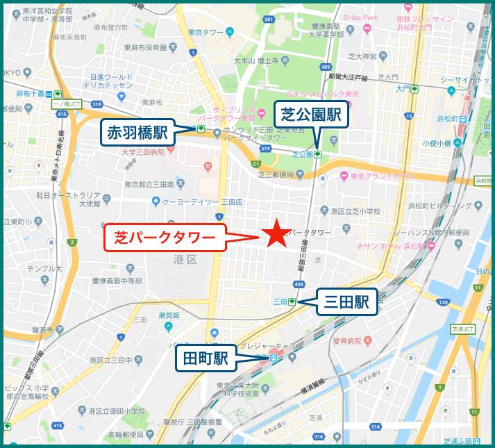 芝パークタワーの地図