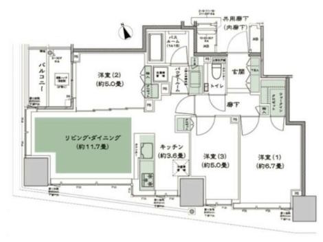 東京ベイシティタワー3LDKの間取り
