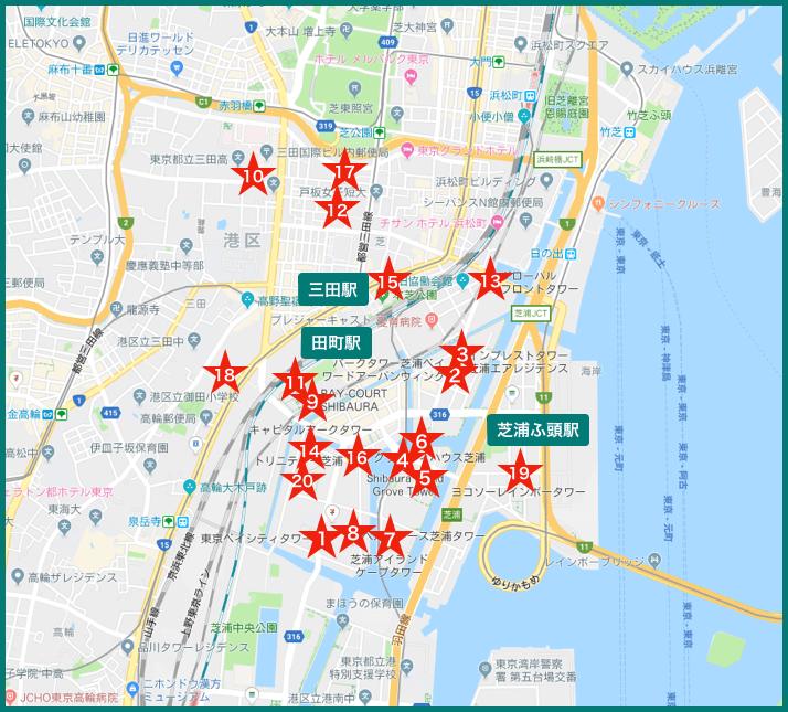 田町タワーマンションの地図
