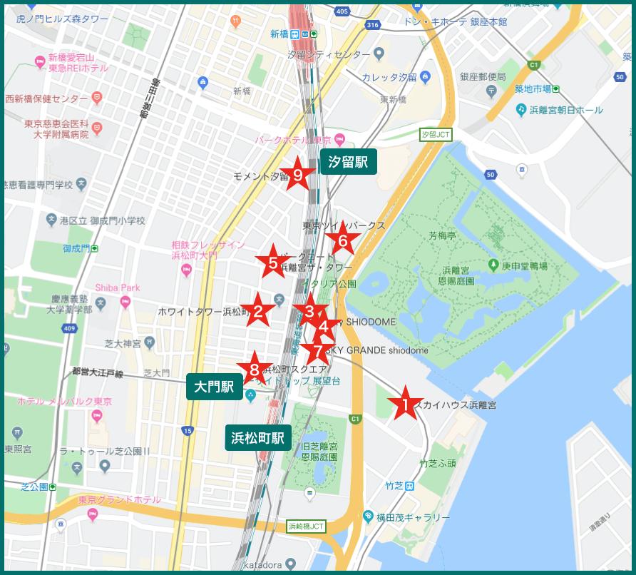 浜松町タワーマンションの地図