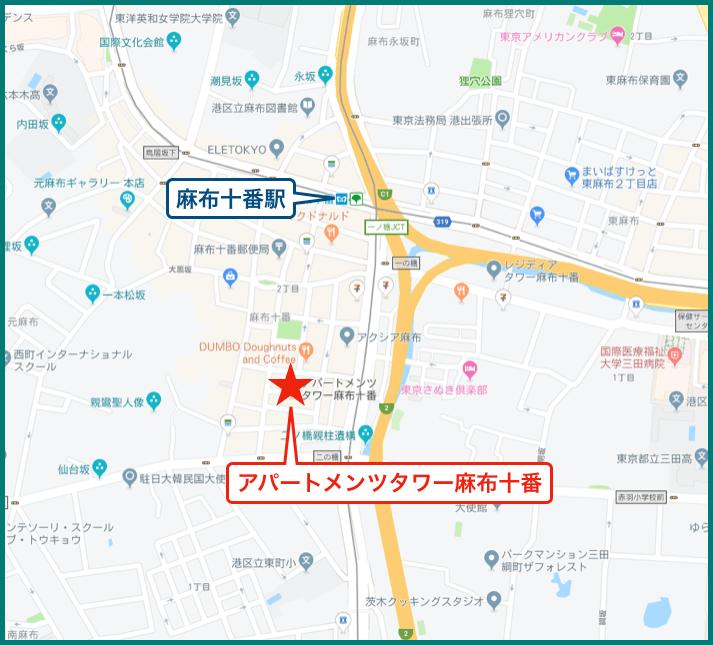 アパートメンツタワー麻布十番の地図