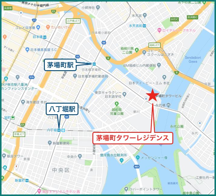 茅場町タワーレジデンスの地図
