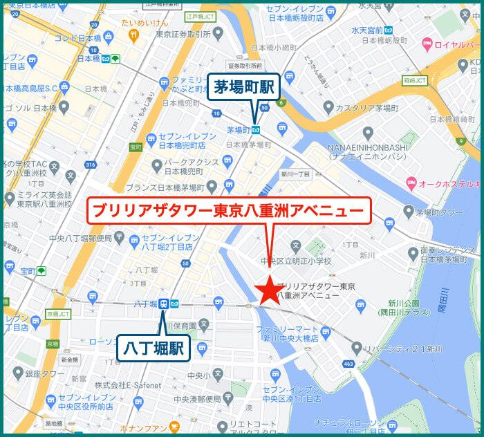 ブリリアザタワー東京八重洲アベニューの地図