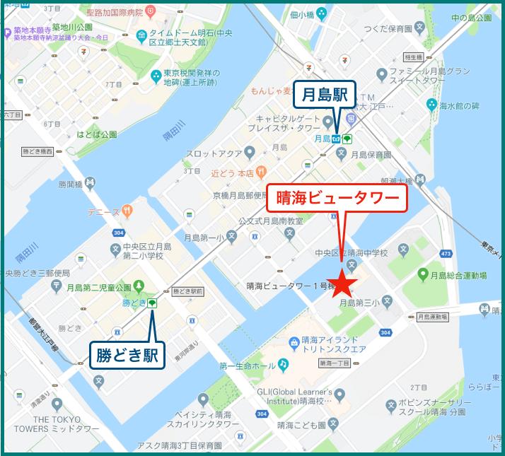 晴海アイランドトリトンスクエアビュータワーの地図