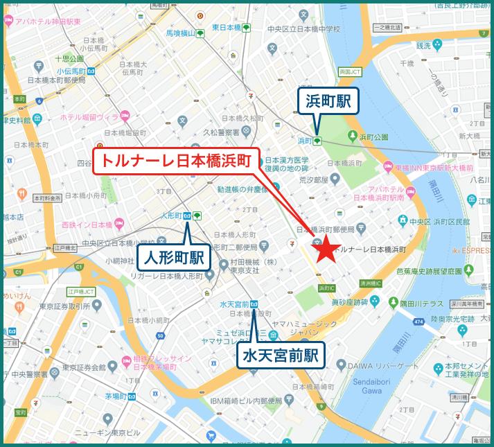 トルナーレ日本橋浜町の地図