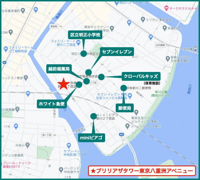 ブリリアザタワー東京八重洲アベニューの周辺施設