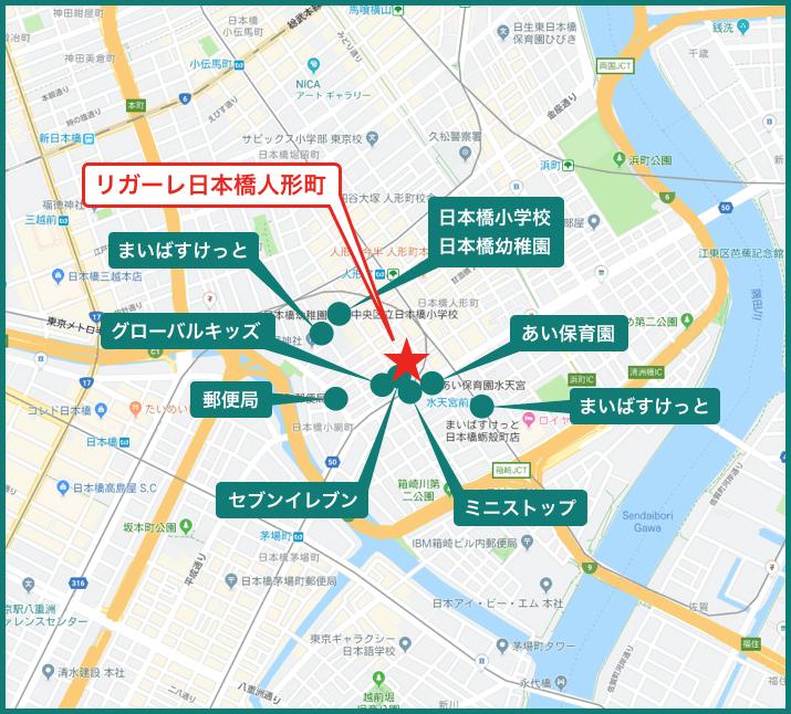 リガーレ日本橋人形町の地図