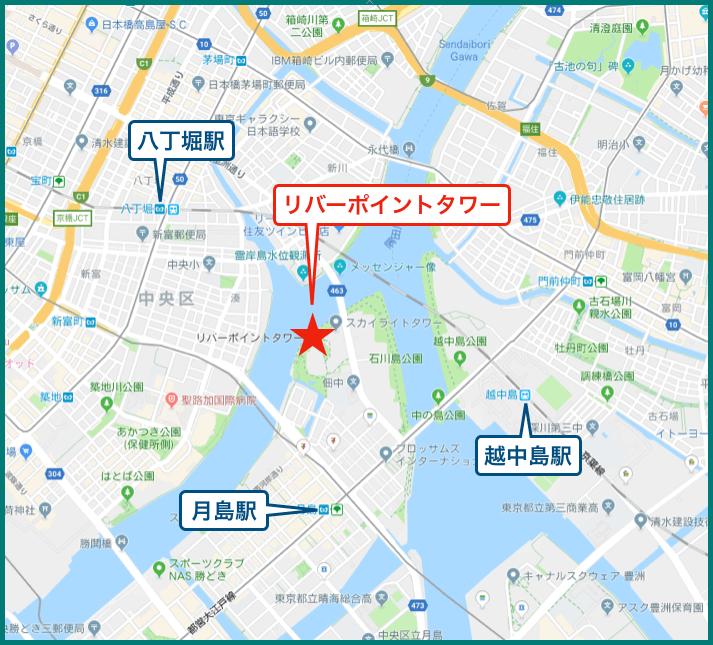 リバーシティ21リバーポイントタワーの地図