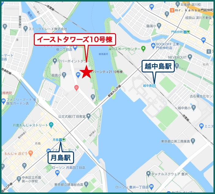 リバーシティ21イーストタワーズ10号棟の地図