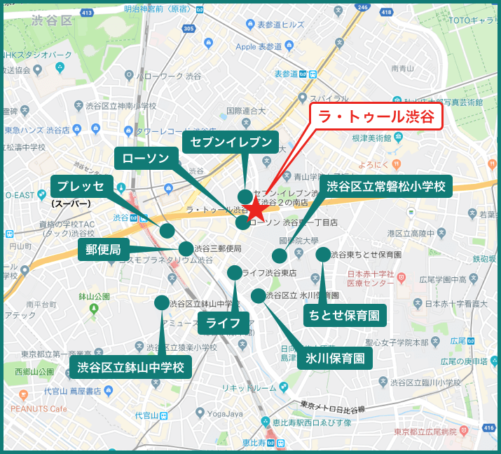 ラ・トゥール渋谷の周辺施設