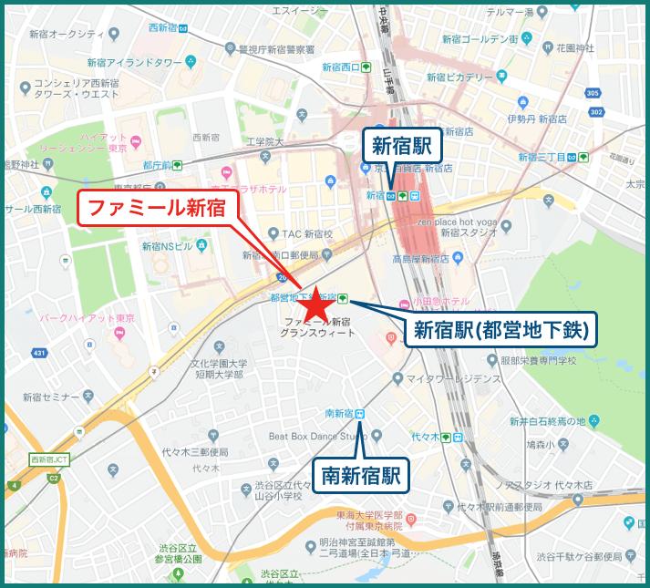 ファミール新宿グランスィートタワーの地図
