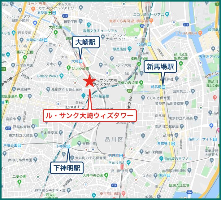 ル・サンク大崎ウィズタワーの地図