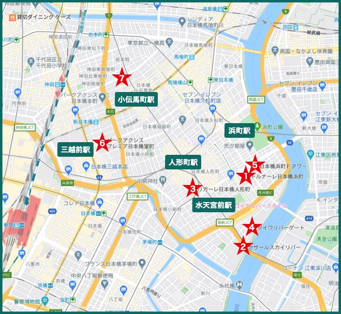 日本橋タワーマンションの地図