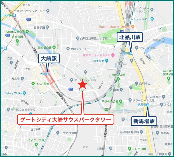 ゲートシティ大崎サウスパークタワーの地図