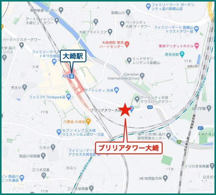 ブリリアタワー大崎の地図