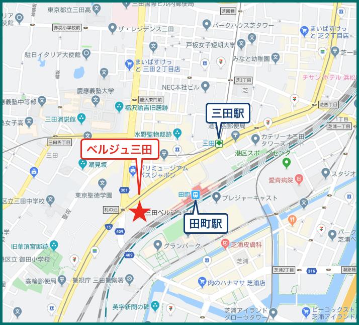 ベルジュ三田の地図