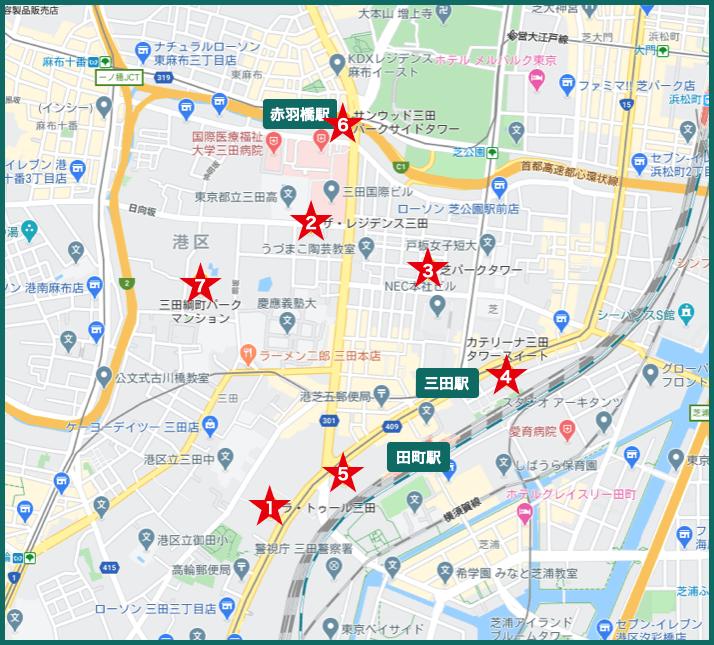 三田タワーマンションの地図