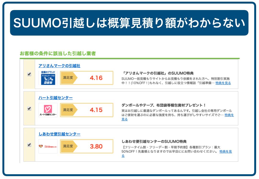 SUUMOの業者選択画面