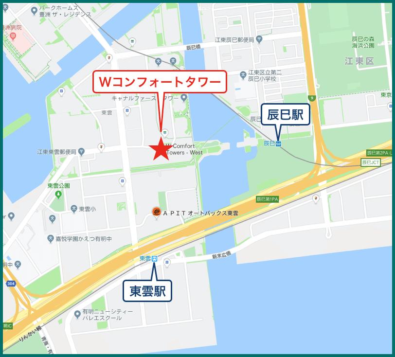 Wコンフォートタワーの地図