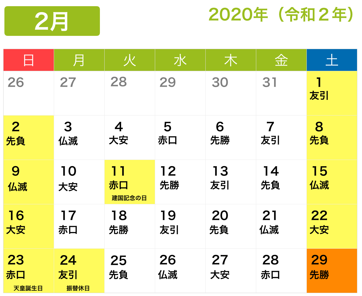 2月の繁忙期カレンダー