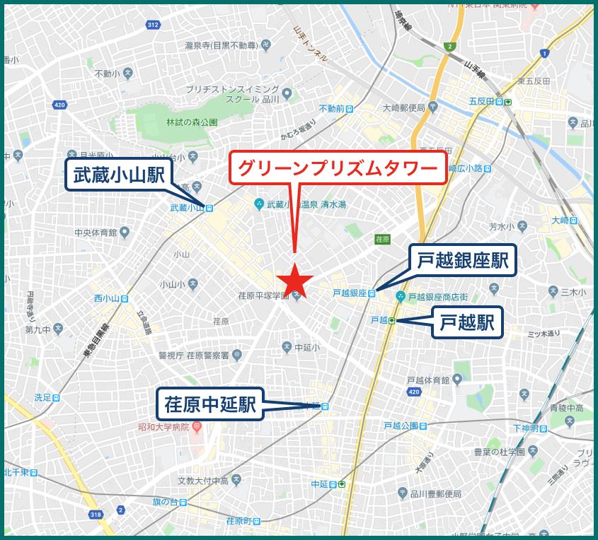 グリーンプリズムタワーの地図