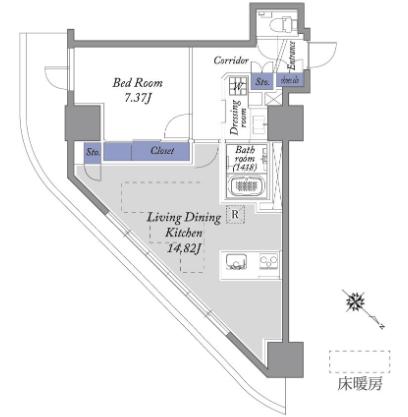 TSI新宿タワー1LDKの間取り