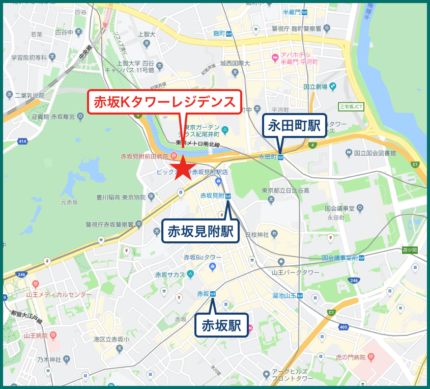 赤坂Kタワーレジデンスの地図