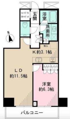 ザ・パークハウス新宿タワー1LDKの間取り