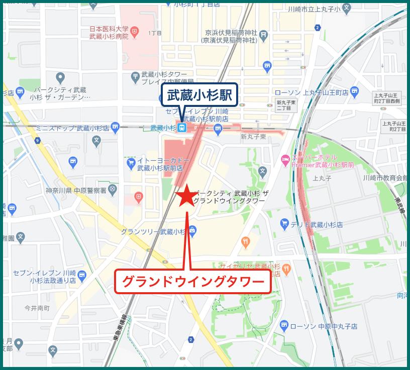 パークシティ武蔵小杉ザ・グランドウイングタワーの地図