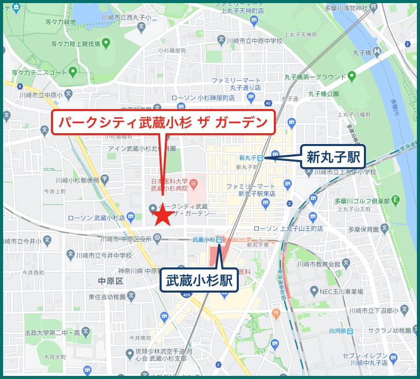 パークシティ武蔵小杉 ザ ガーデンの地図