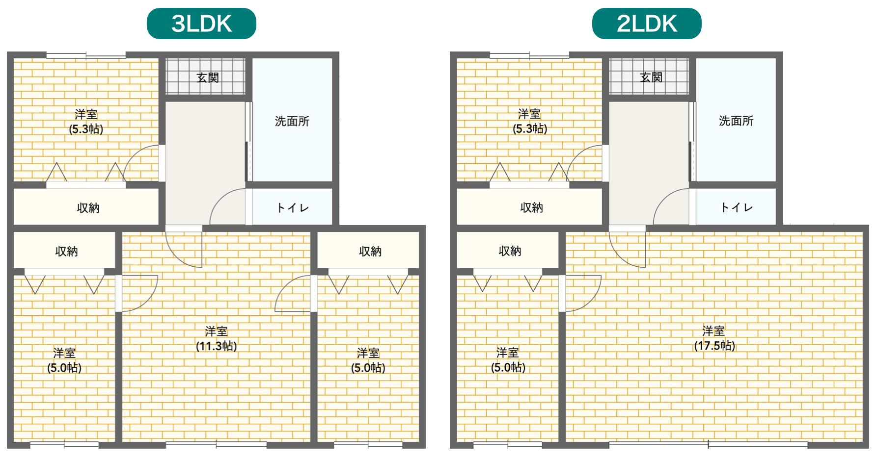 3LDKと2LDKの間取り図比較