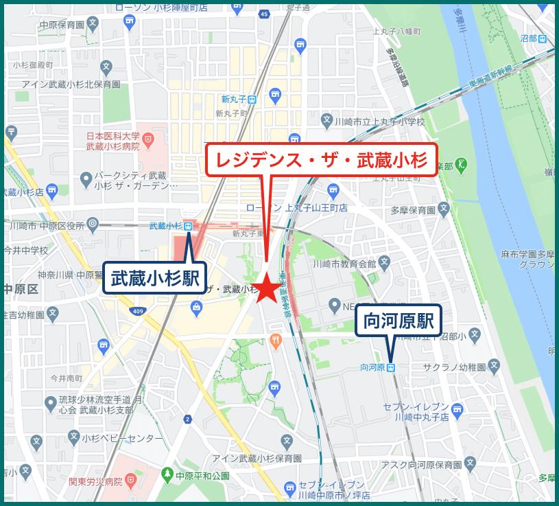 レジデンス・ザ・武蔵小杉の地図
