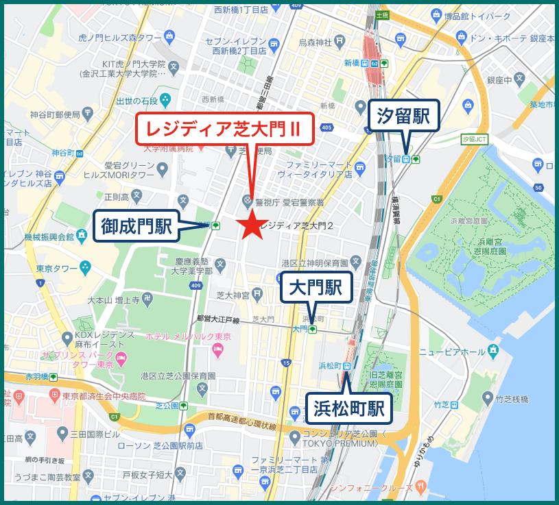 レジディア芝大門Ⅱの地図
