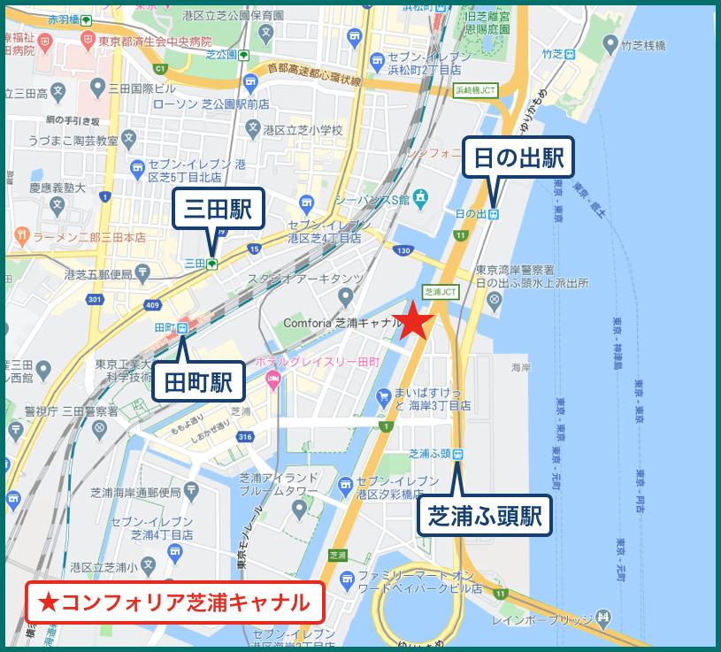 コンフォリア芝浦キャナルの地図