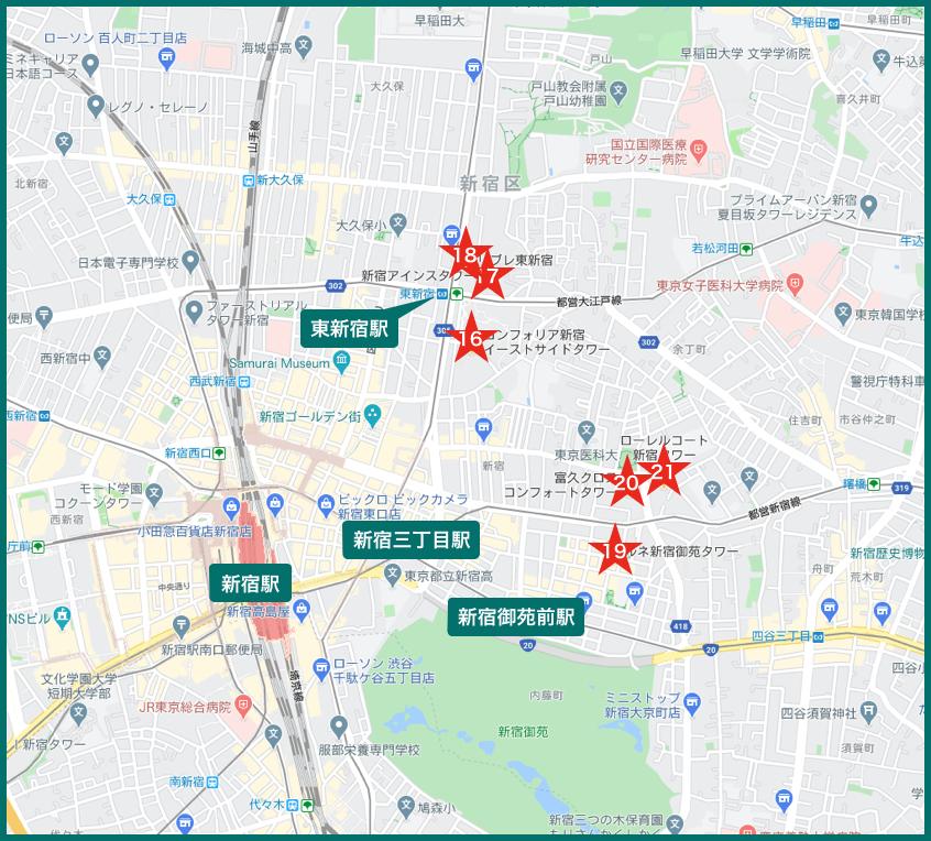 新宿タワーマンションの地図