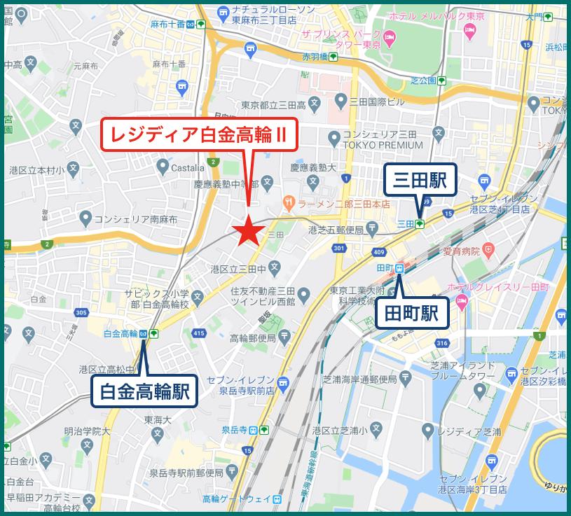 レジディア白金高輪Ⅱの地図