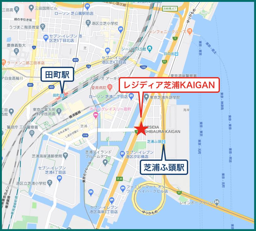 レジディア芝浦KAIGANの地図