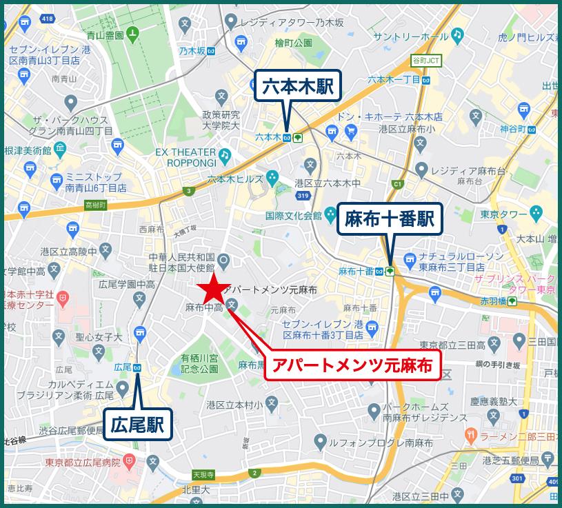 アパートメンツ元麻布の地図