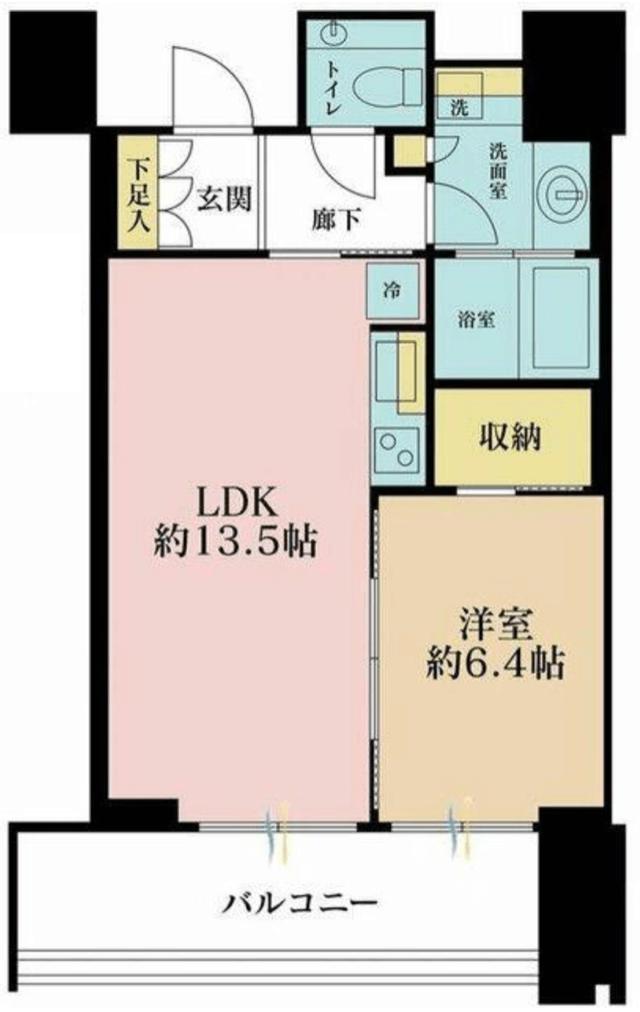 赤坂タワーレジデンスの1LDK間取り図