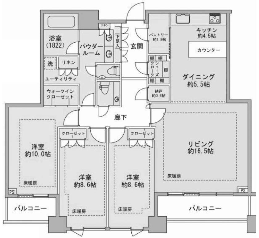 プラウドタワー千代田富士見の3LDK間取り図
