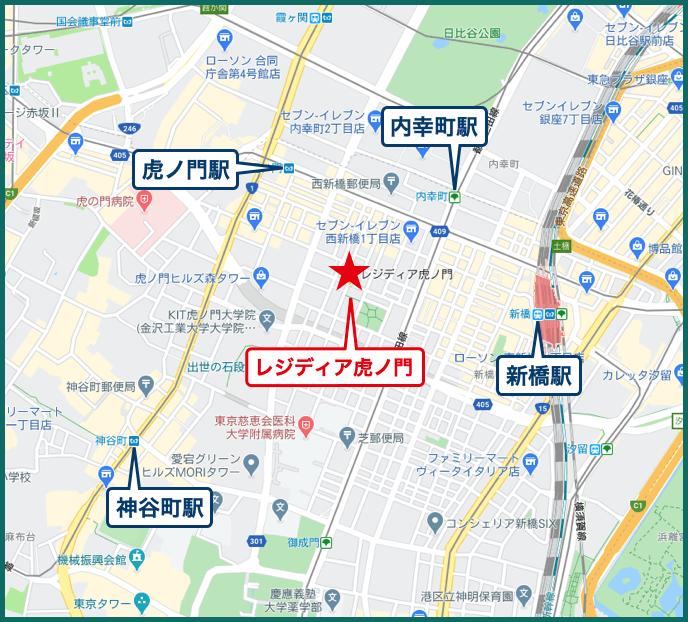 レジディア虎ノ門の地図