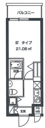 レジディア虎ノ門1Kの間取り